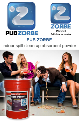 PUB ZORBE Indoor spill clean up absorbent powder
